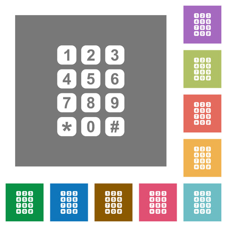 Numeric keypad flat icons on simple color square backgrounds