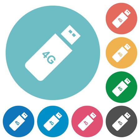 Third generation mobile stick flat white icons on round color backgrounds Ilustração