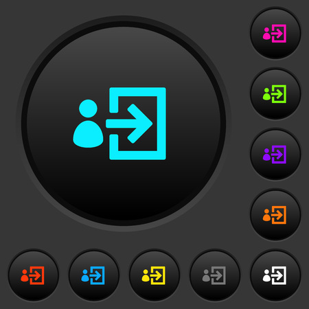 User login dark push buttons with vivid color icons on dark grey background