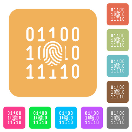 Digital fingerprint flat icons on rounded square vivid color backgrounds.