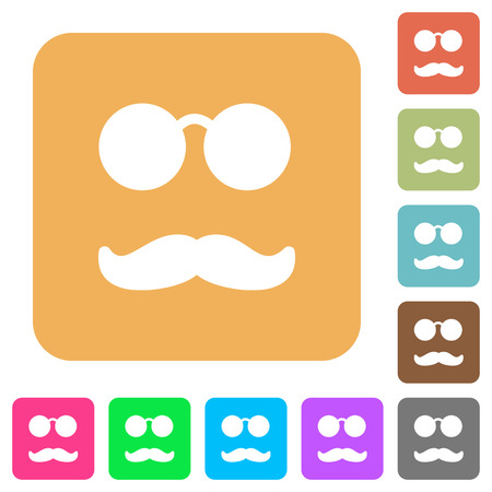 Glasses and mustache flat icons on rounded square vivid color backgrounds.
