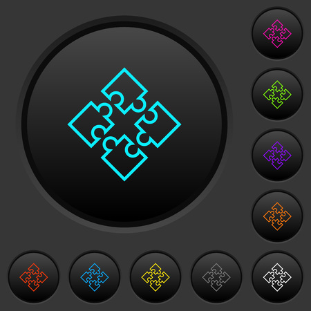 Puzzle pieces dark push buttons with vivid color icons on dark grey background