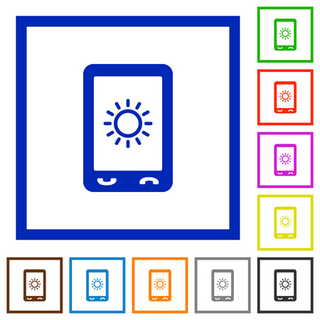 Mobile display brightness flat color icons in square frames on white background  イラスト・ベクター素材