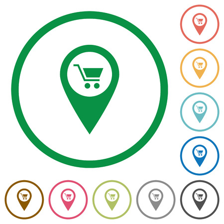 Department store GPS map location flat color icons in round outlines on white background