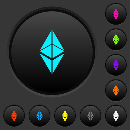 Ethereum classic digital cryptocurrency dark push buttons with vivid color icons on dark grey background