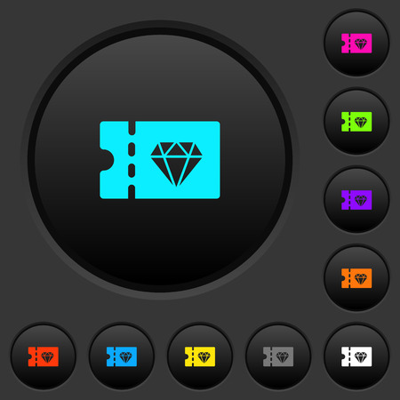 Jewelry store discount coupon dark push buttons with vivid color icons on dark grey background