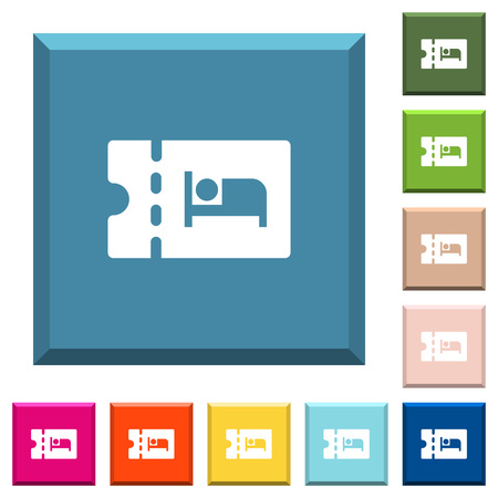 Accommodation discount coupon white icons on edged square buttons in various trendy colors