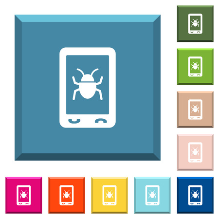 Malicious mobile software white icons on edged square buttons in various trendy colors