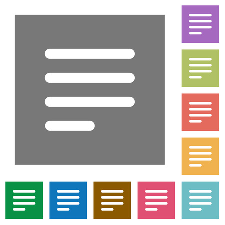 Text align justify last row left flat icons on simple color square backgrounds
