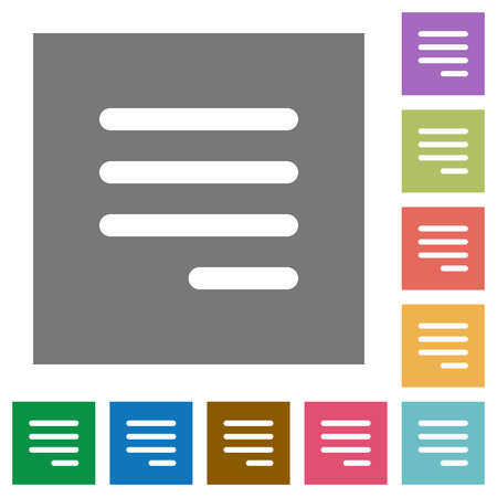 Text align justify last row right flat icons on simple color square backgrounds
