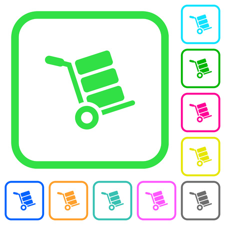 Hand truck with boxes vivid colored flat icons in curved borders on white background