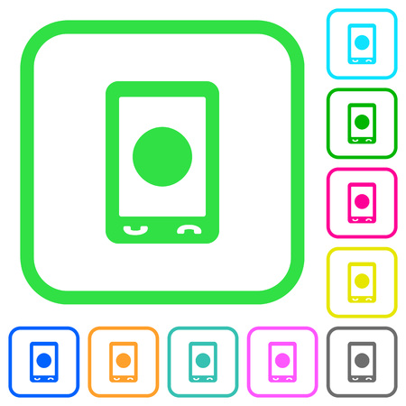 Mobile media record vivid colored flat icons in curved borders on white background