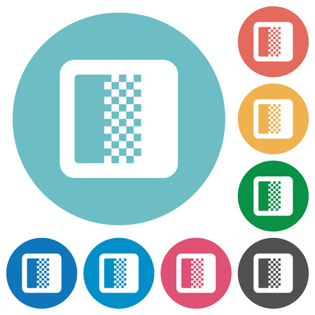 Flache weiße Symbole mit Farbverlauf auf runden Farbhintergründen Vektorgrafik
