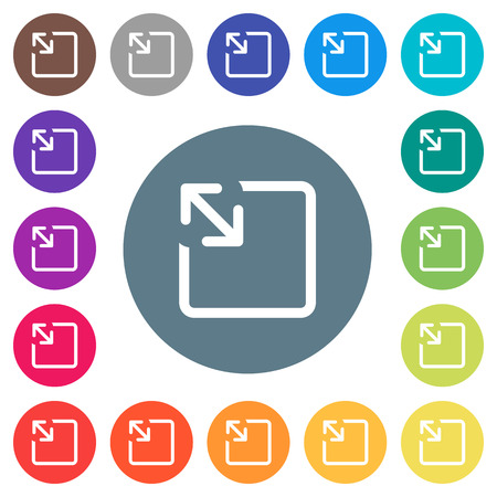 Resize object flat white icons on round color backgrounds. 17 background color variations are included.
