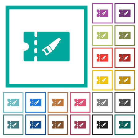 DIY shop discount coupon flat color icons with quadrant frames on white background Stock Illustratie