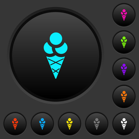 Ice cream dark push buttons with vivid color icons on dark grey background