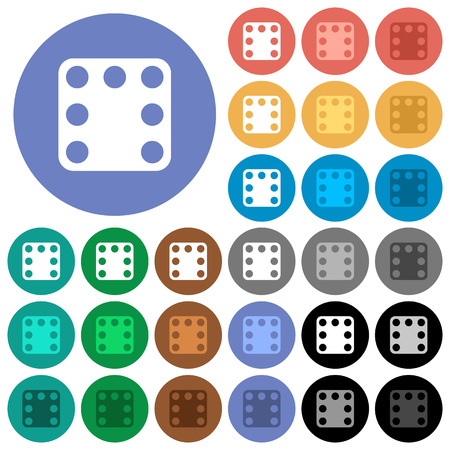 Domino seven multi colored flat icons on round backgrounds. Included white, light and dark icon variations for hover and active status effects, and bonus shades.