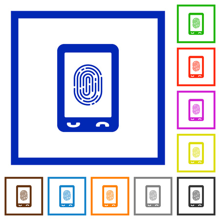 Mobile fingerprint identification flat color icons in square frames on white background