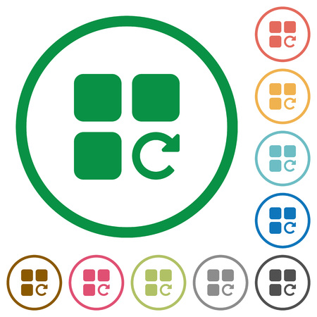 Redo component operation flat color icons in round outlines on white background