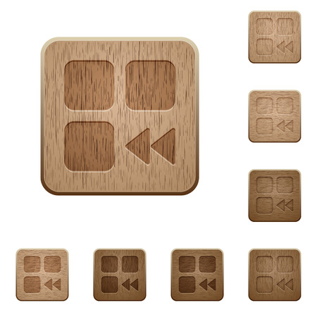 Component fast backward on rounded square carved wooden button styles