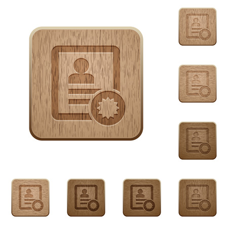 Certified contact on rounded square carved wooden button styles Illustration