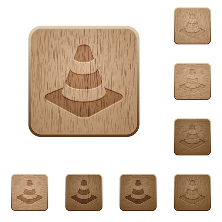 Traffic cone on rounded square carved wooden button styles Illustration