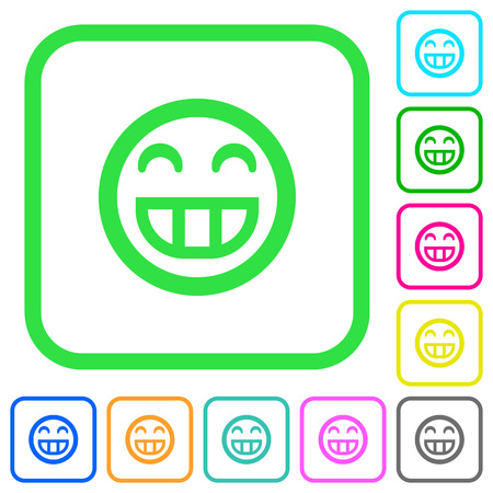 Laughing emoticon vivid colored flat icons in curved borders on white background Illustration