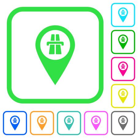 Emplacement de la carte GPS de l'autoroute icônes plates de couleur vive dans des bordures incurvées sur fond blanc Vecteurs
