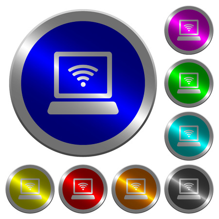 Laptop computer with wireless symbol icons on round luminous coin-like color steel buttons
