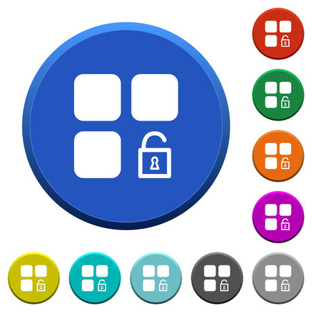 Unlock component round color beveled buttons with smooth surfaces and flat white icons