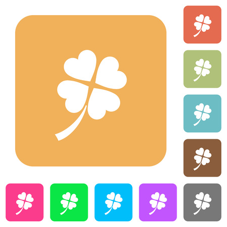 Four leaf clover flat icons on rounded square vivid color backgrounds.  イラスト・ベクター素材