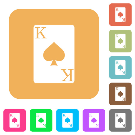 King of spades card flat icons on rounded square vivid color backgrounds.
