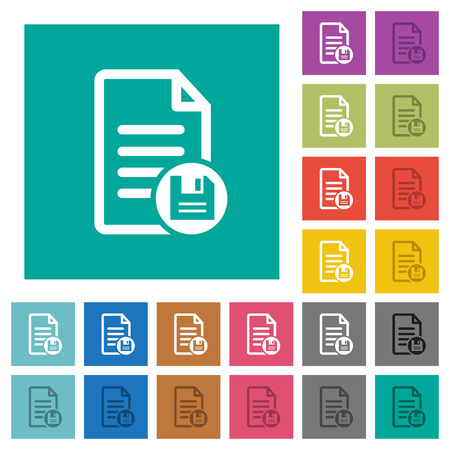 Save document multi colored flat icons on plain square backgrounds. Included white and darker icon variations for hover or active effects.