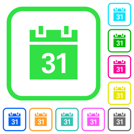 Calendar vivid colored flat icons in curved borders on white background Векторная Иллюстрация