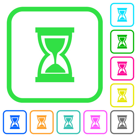 Hourglass vivid colored flat icons in curved borders on white background