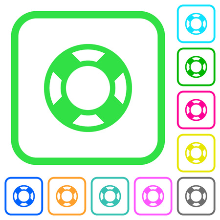 Lifesaver vivid colored flat icons in curved borders on white background