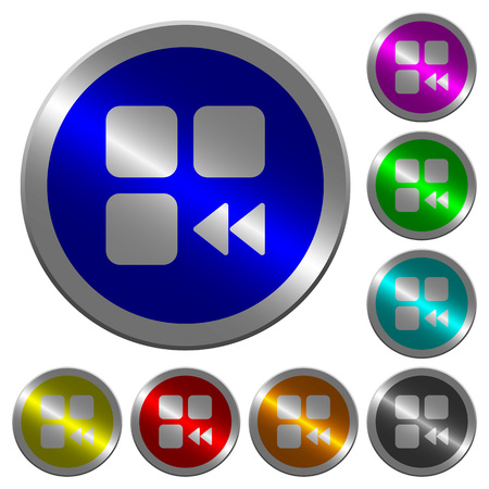 Component fast backward icons on round luminous coin-like color steel buttons