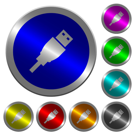 USB plug icons on round luminous coin-like color steel buttons Illustration