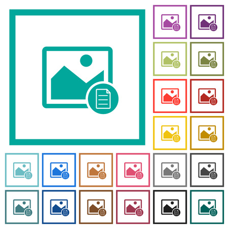 Image properties flat color icons with quadrant frames on white background Illustration