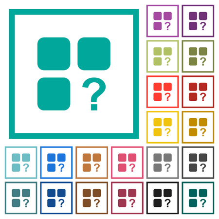 Unknown component flat color icons with quadrant frames on white background