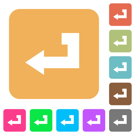 Return key flat icons on rounded square vivid color backgrounds.