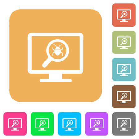 Spyware scanning flat icons on rounded square vivid color backgrounds. Illustration