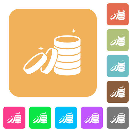 Stack of treasure flat icons on rounded square vivid color backgrounds.