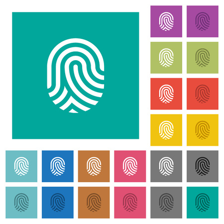 Fingerprint multi colored flat icons on plain square backgrounds. Included white and darker icon variations for hover or active effects.
