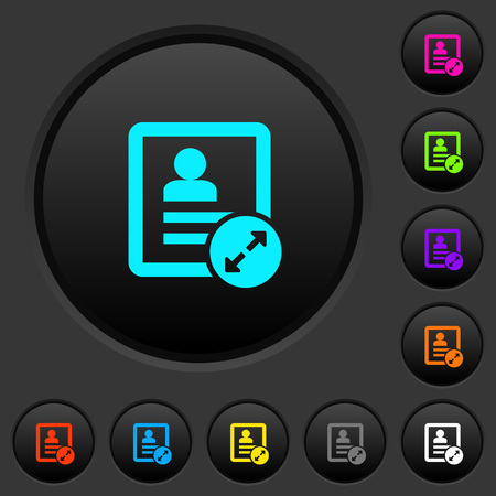 Extend contact dark push buttons with vivid color icons on dark grey background