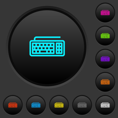 Computer keyboard dark push buttons with vivid color icons on dark grey background
