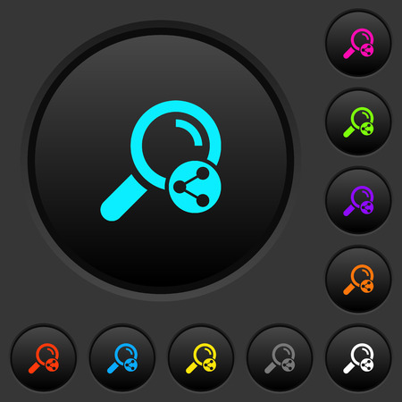 Share search dark push buttons with vivid color icons on dark grey background Ilustrace