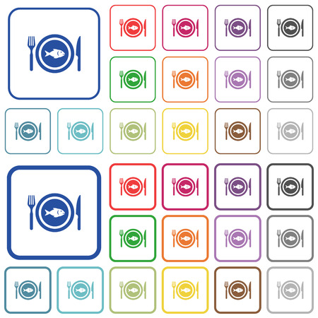 Fish for lunch color flat icons in rounded square frames. Thin and thick versions included. Standard-Bild - 110490512