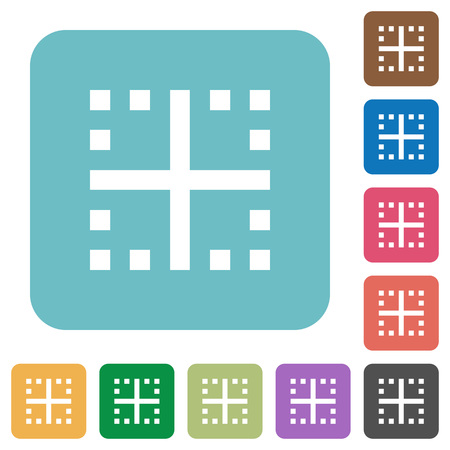 Inner borders white flat icons on color rounded square backgrounds