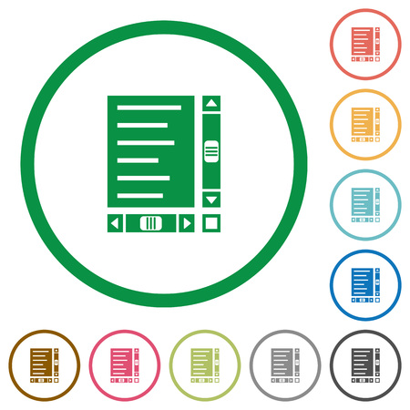 Document with content and scroll bars flat color icons in round outlines on white background Vettoriali